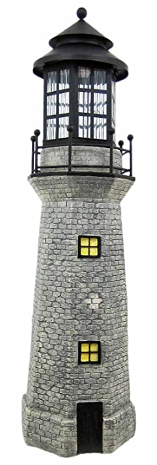 Amazoncom Solar Lighthouse Garden Figurine Light Gray Color