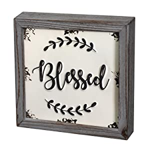 """DeliDecor Blessed - 8"""" X 8"""" Wooden Signs Wall Decor Rustic Embossed Retro Metal and Wood Framed Sign Modern Farmhouse Wall Hanging Art Blessed Sign Home Decor"""