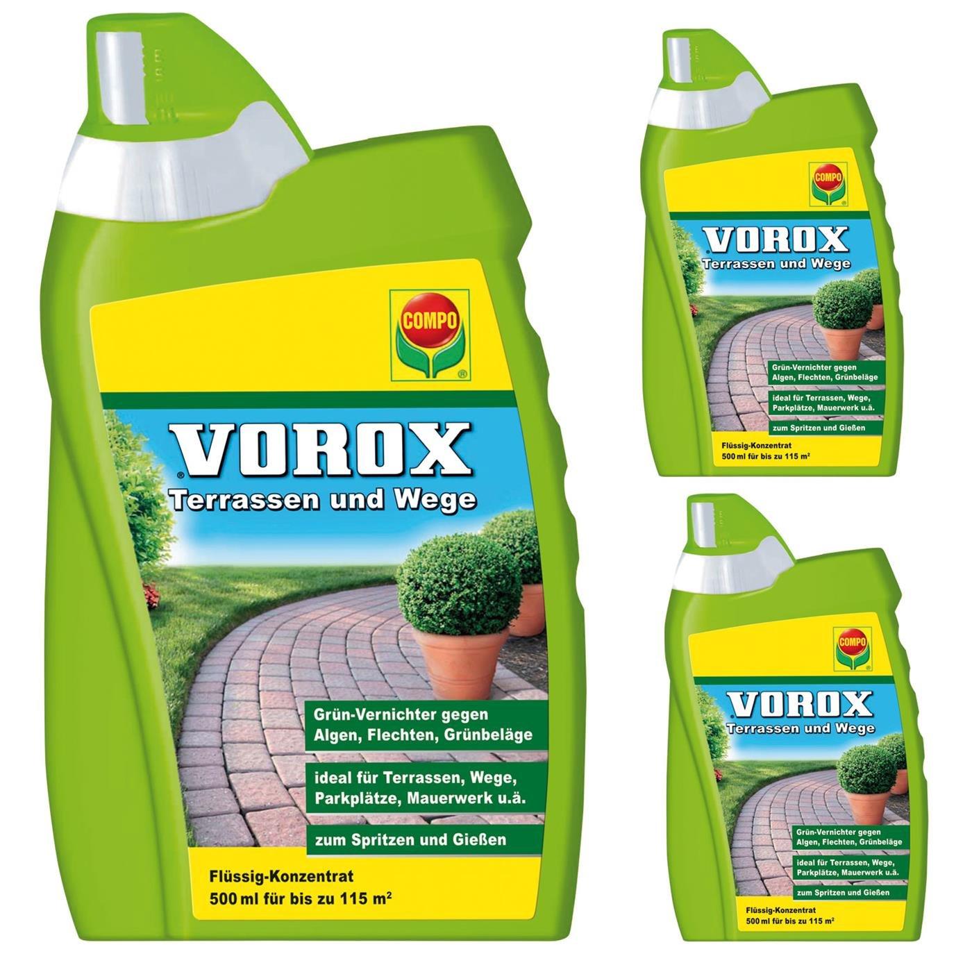 Compo VOROX Terrassen- und Wege Frei Gardopia Sparpakete + Zeckenzange mit Lupe (3 x 500 ml)