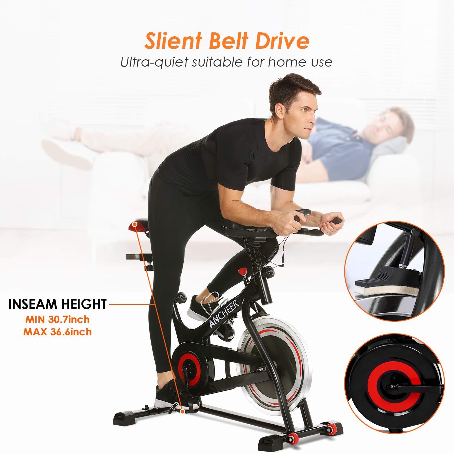 ANCHEER Stationary Bike, 40 LBS Flywheel Belt Drive Indoor Cycling Exercise Bike with Pulse, Elbow Tray (Model: ANCHEER-A5001) (Black) by ANCHEER (Image #4)