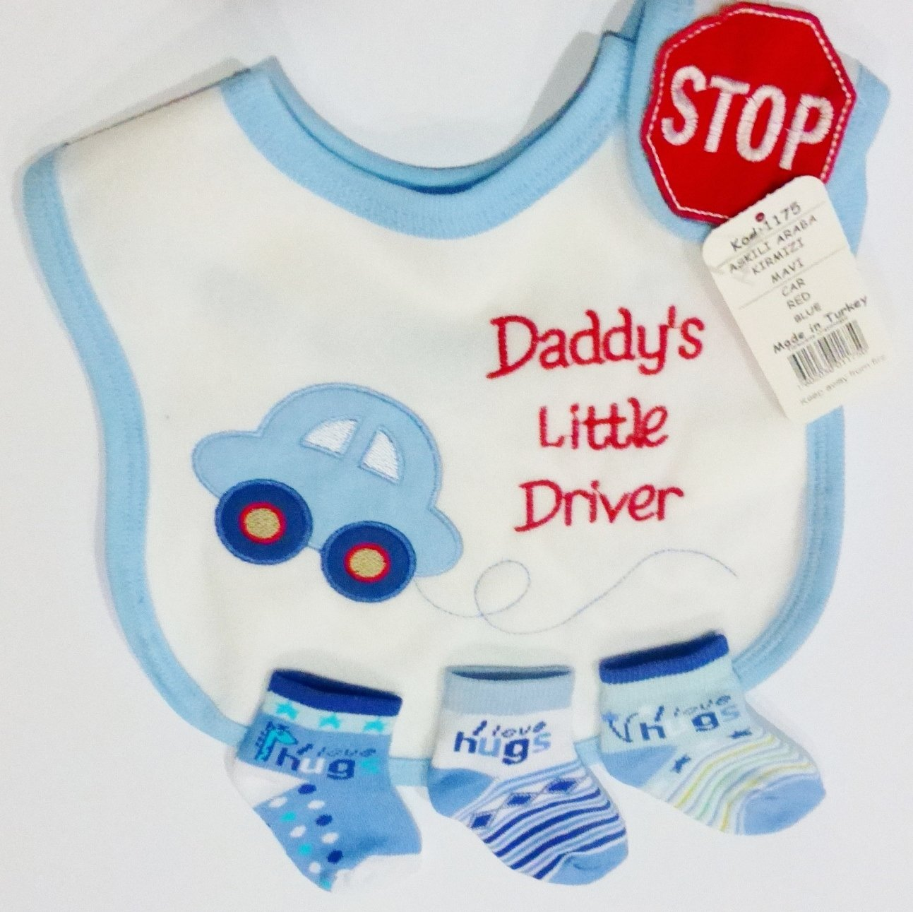 Baby Bib with Blue Car /& Socks 6-12 Months I Love Hugs