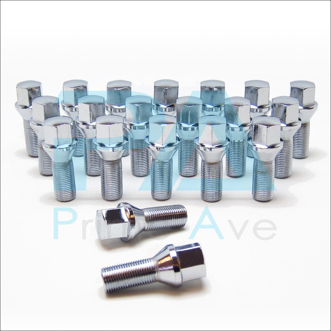 Prime Ave PA (20) Cone Seat Wheel Lug Bolts in Chrome ~ Thread Size 14X1.5 | 32mm Shank | 17mm Hex by Prime Ave