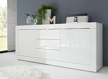 Credenza Moderna Laccata : Madia moderna 2 ante e 3 cassetti laccata bianco lucido: amazon.it