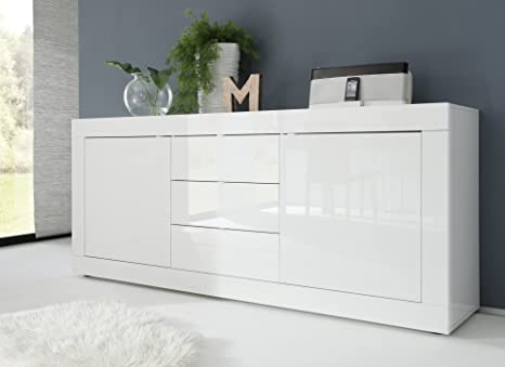 Credenza Moderna Laccata : Madia moderna ante e cassetti laccata bianco lucido