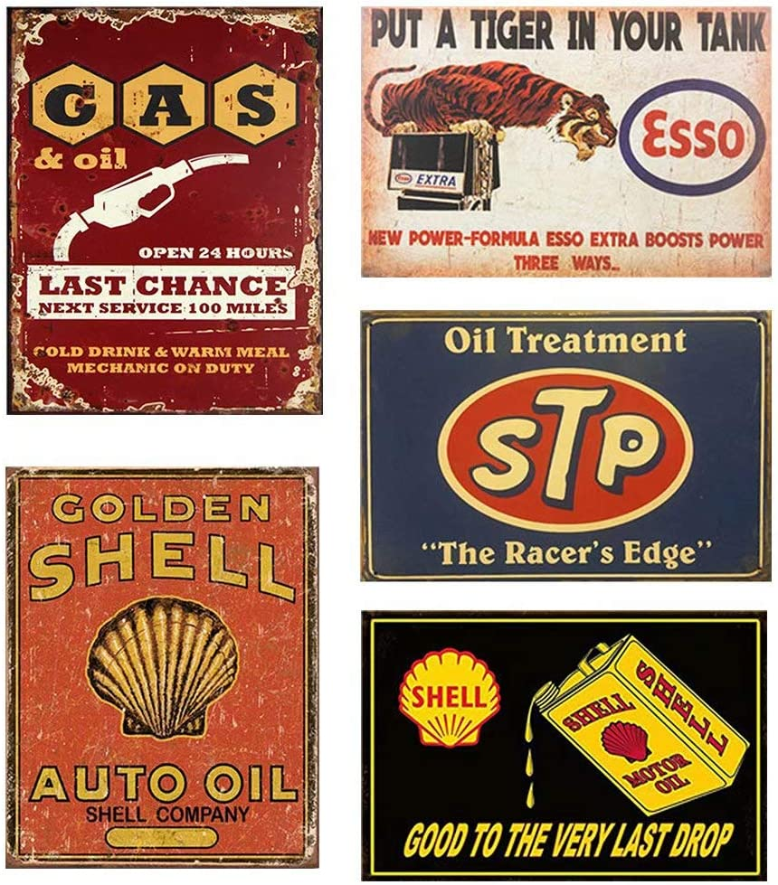 FlowerBeads Vintage Tin Signs Metal Poster Auto Motorcycle Gasoline Garage Shop Bar Home Wall Decoration (5PCS, STP Motor Oil, 20X30CM)