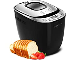 CROWNFUL Automatic Bread Machine, 2LB Programmable Bread Maker with Nonstick Pan and 12 Presets, 1 Hour Keep Warm Set , 2 Loa