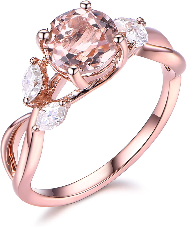 14k Rose Gold Round Cut Pink Morganite Engagement Ring Marquise Moissanite Unique Wedding Band Set Women Amazon Com