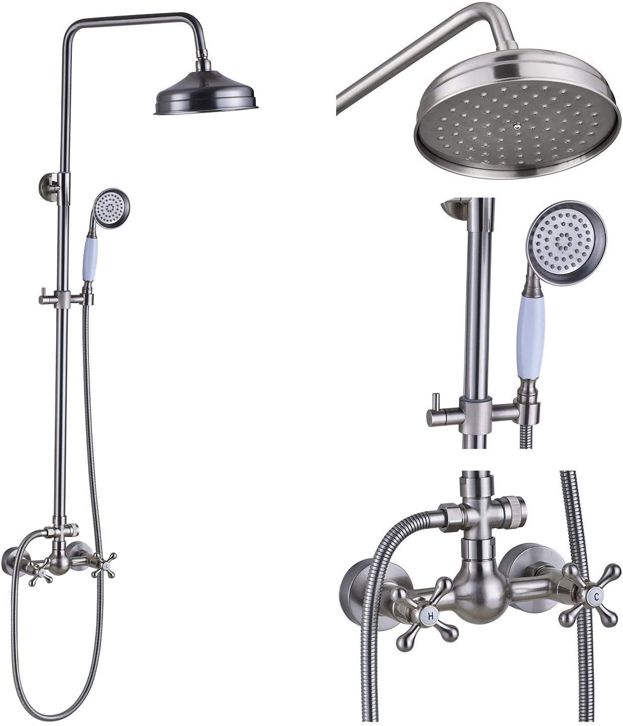 Rozin Brushed Nickel 2 Way Wall Mounted Bathroom Outdoor Rainfall Shower Mixer Tap with Handheld Sprayer Faucet