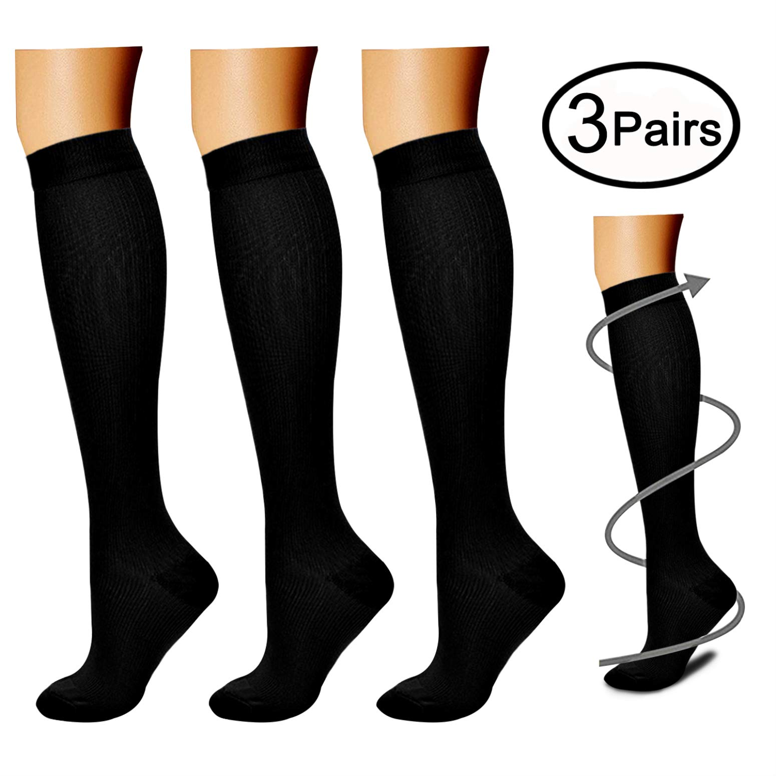 Compression Socks (3 Pairs), 15-20 mmhg is BEST Athletic & Medical for Men & Women, Running, Flight, Travel, Nurses, Pregnant - Boost Performance, Blood Circulation & Recovery (Large/X-Large, Black)