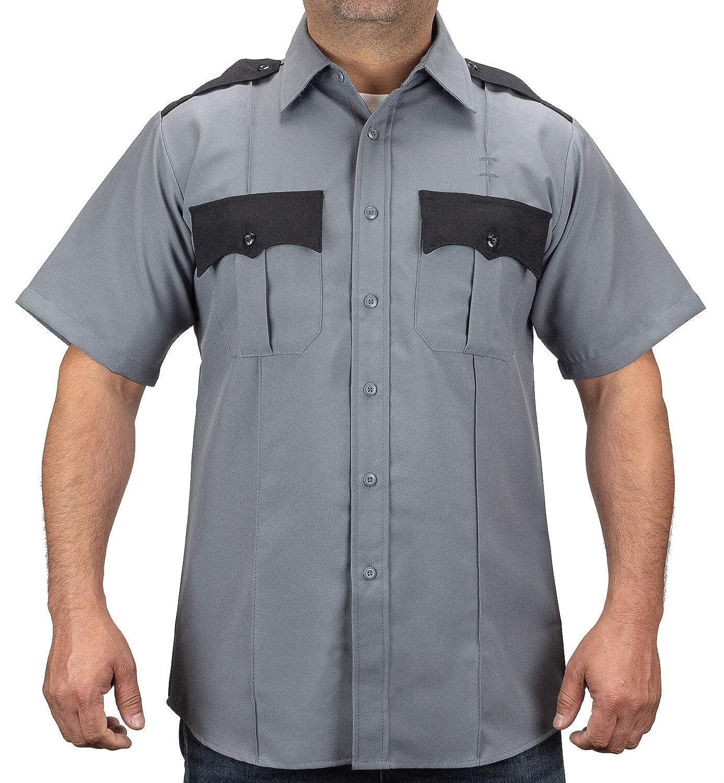 First Class 100/% Polyester Two Tone Short Sleeve Mens Uniform Shirt