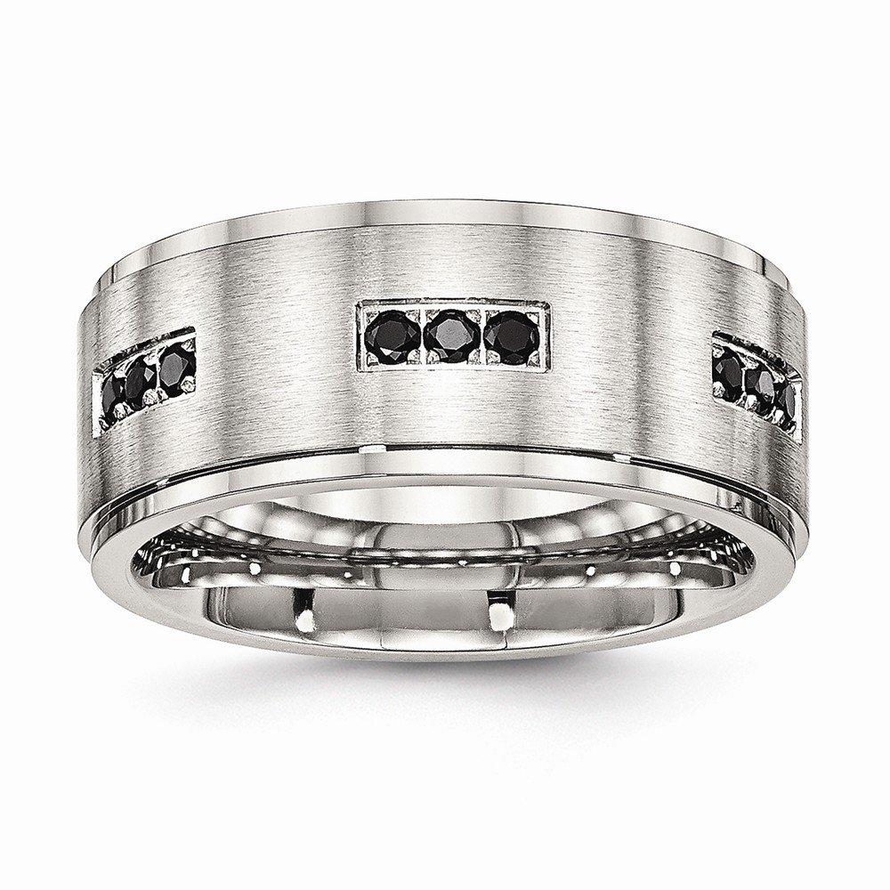 Bridal Wedding Bands Decorative Bands Stainless Steel Brushed and Polished Ridged Edged Black CZ Ring Size 13