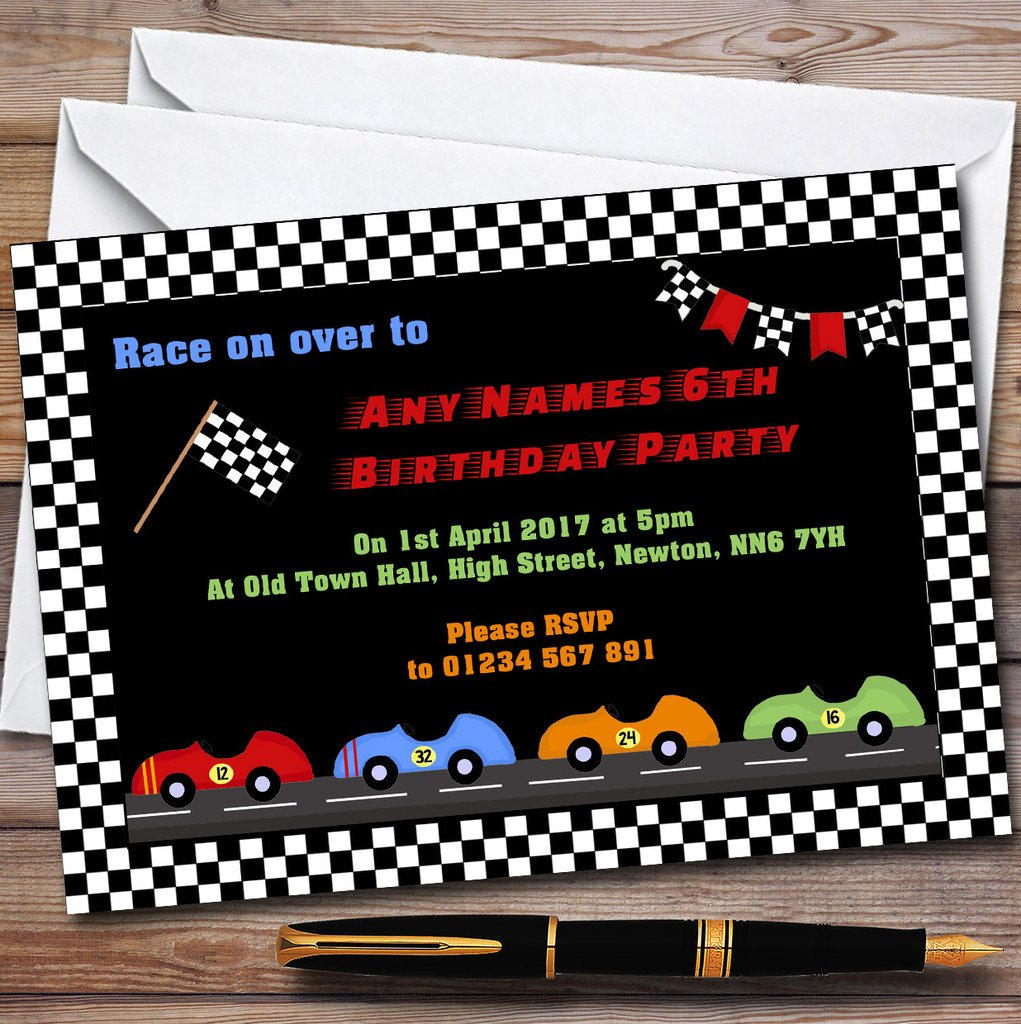 Chequered Racing Flag Car Childrens Birthday Party Invitations