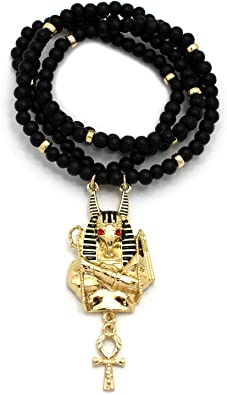 Fashion 21 Egyptian Horus Bird Pendant 6mm 30 Wooden Bead Necklace Gold Black Tone