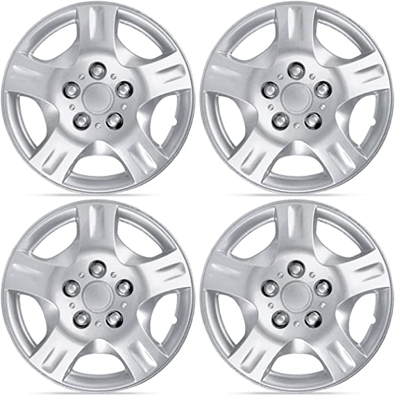 BDK T944 15 Durable ABS Hubcaps for Toyota Campry Replica-15 inch Silver 4 Pieces Set Wheel Cover Hub Caps