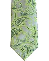 Mens Green Jacquard Woven Paisley Tie Skinny Narrow Necktie and Handkerchief Set