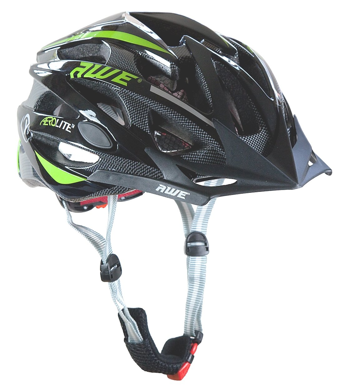 AWE® AeroLite™ Hombres de bicicleta casco negro verde tamaño cm