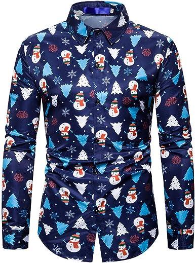 SO-buts Hombre Otoño Invierno Navidad Santa Árbol Moda Camisa De Manga Larga Solapas De Negocios Camisas Casuales Tops Blusa Ropa: Amazon.es: Ropa y accesorios