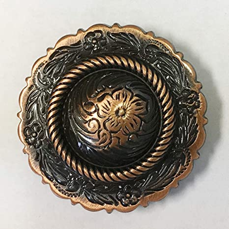 """WESTERN HORSE HEADSTALL SADDLE TACK COPPER ENGRAVED ROPE EDGE CONCHOS 3//4/"""""""