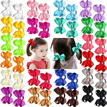 """374c21f1c6bc8c 40Pieces Boutique Grosgrain Ribbon 3"""" Hair Bows Pigtail Holder Elastic  Ties For Babies Toddlers Teens"""