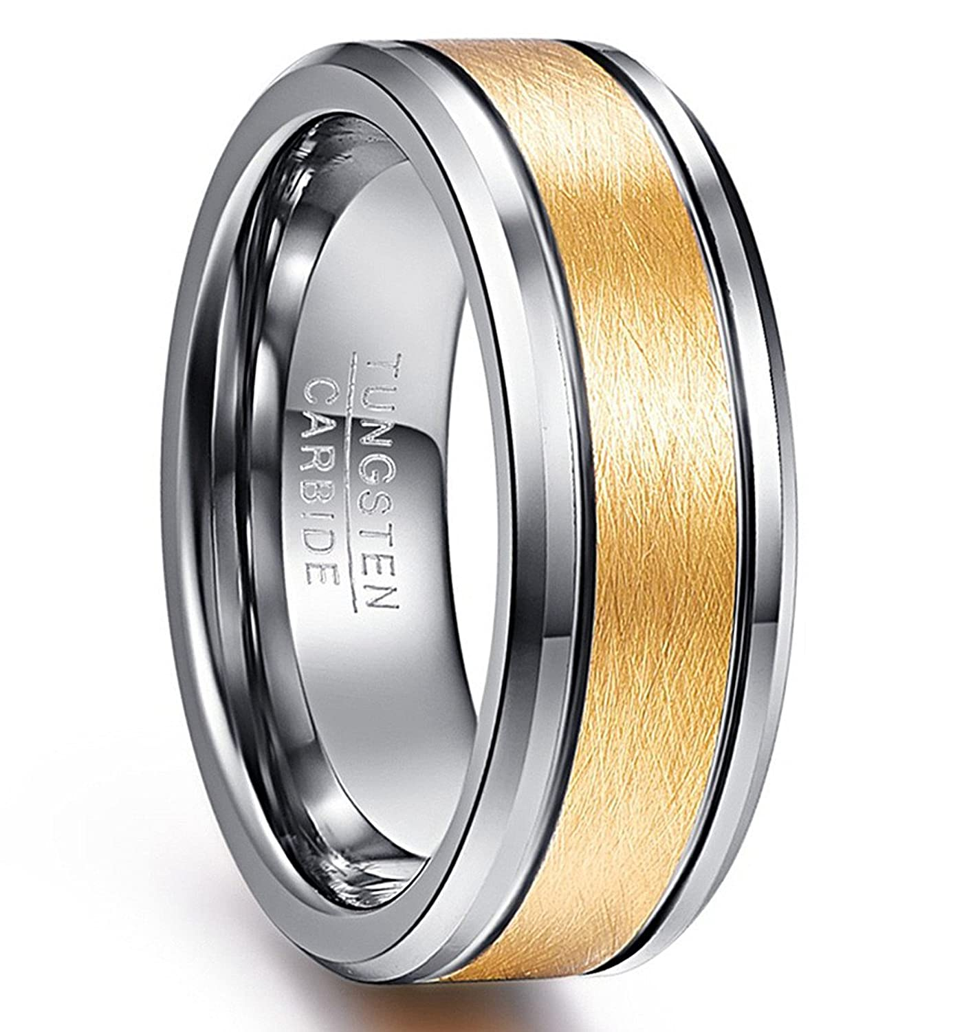 Vakki 8mm Men's Gold Plated Tungsten Carbide Rings Brushed Center Two Grooves Wedding Bands Beveled Edge Size 7-12