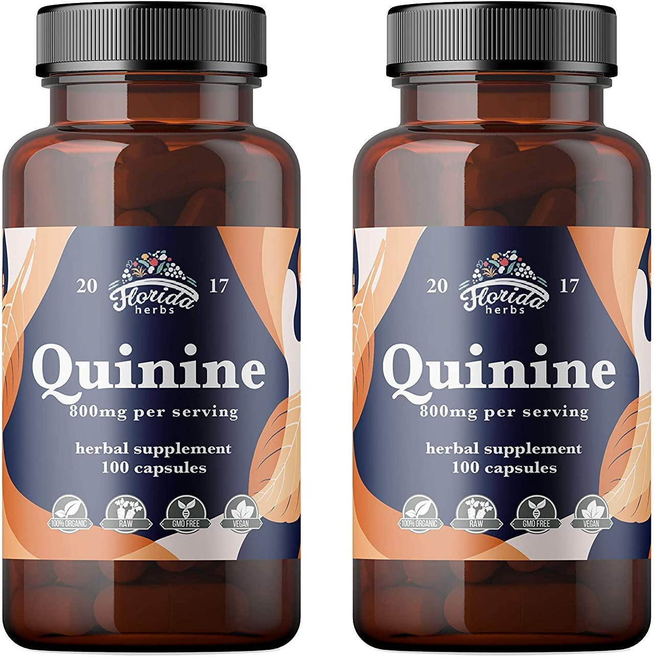 Quinine Capsules 800mg, Cinchona Bark Pills Cinchona succirubra, Peruvian Bark Herbal Supplement