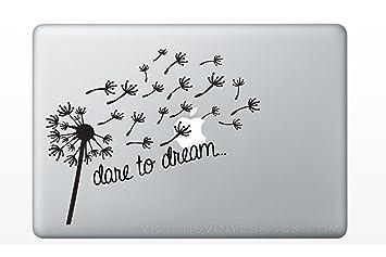 Dare To Dream Blowing Dandelion Wish Quote (BLACK) Vinyl Decal Stickers For  MacBook Laptop