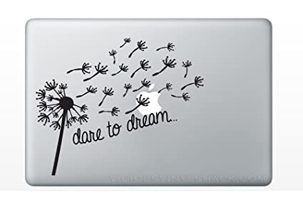 b542964216d7f Dare to Dream Blowing Dandelion Wish Quote (BLACK) Vinyl Decal Stickers for MacBook  Laptop