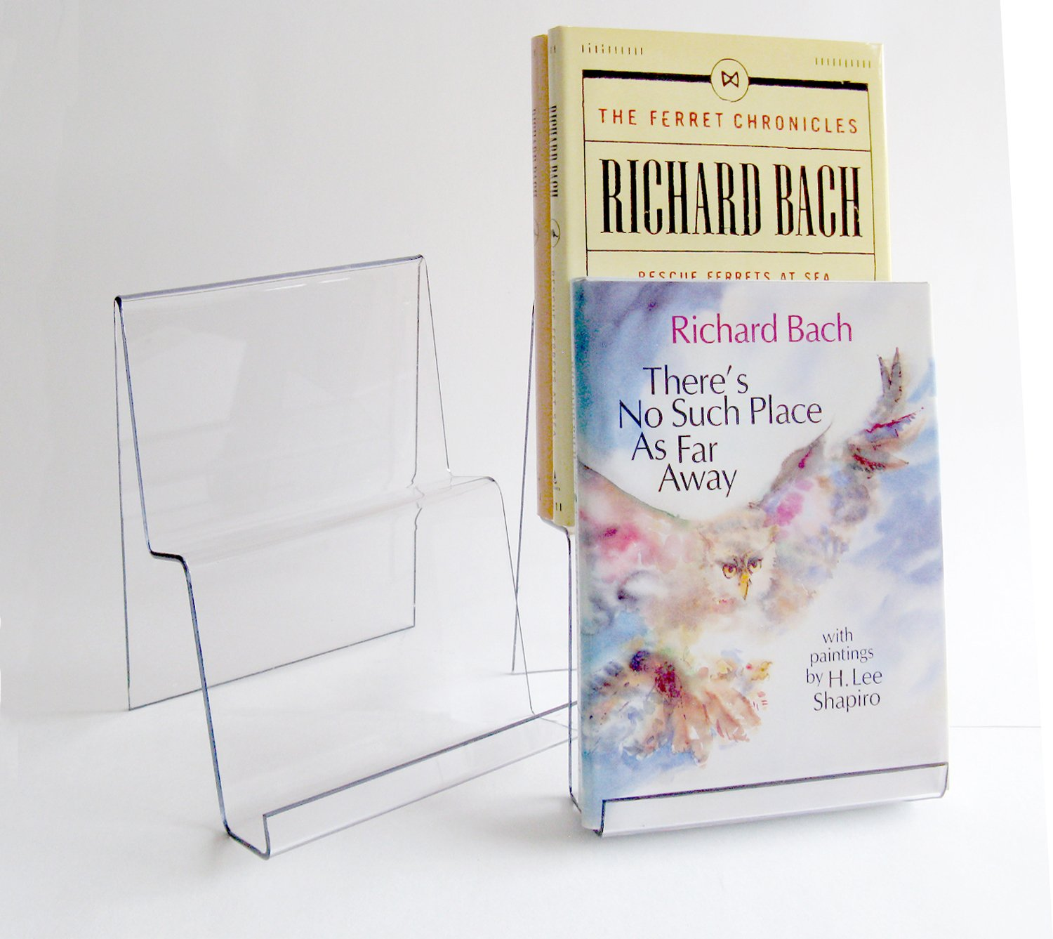 wide double tier book stand 4 pack clear electronics