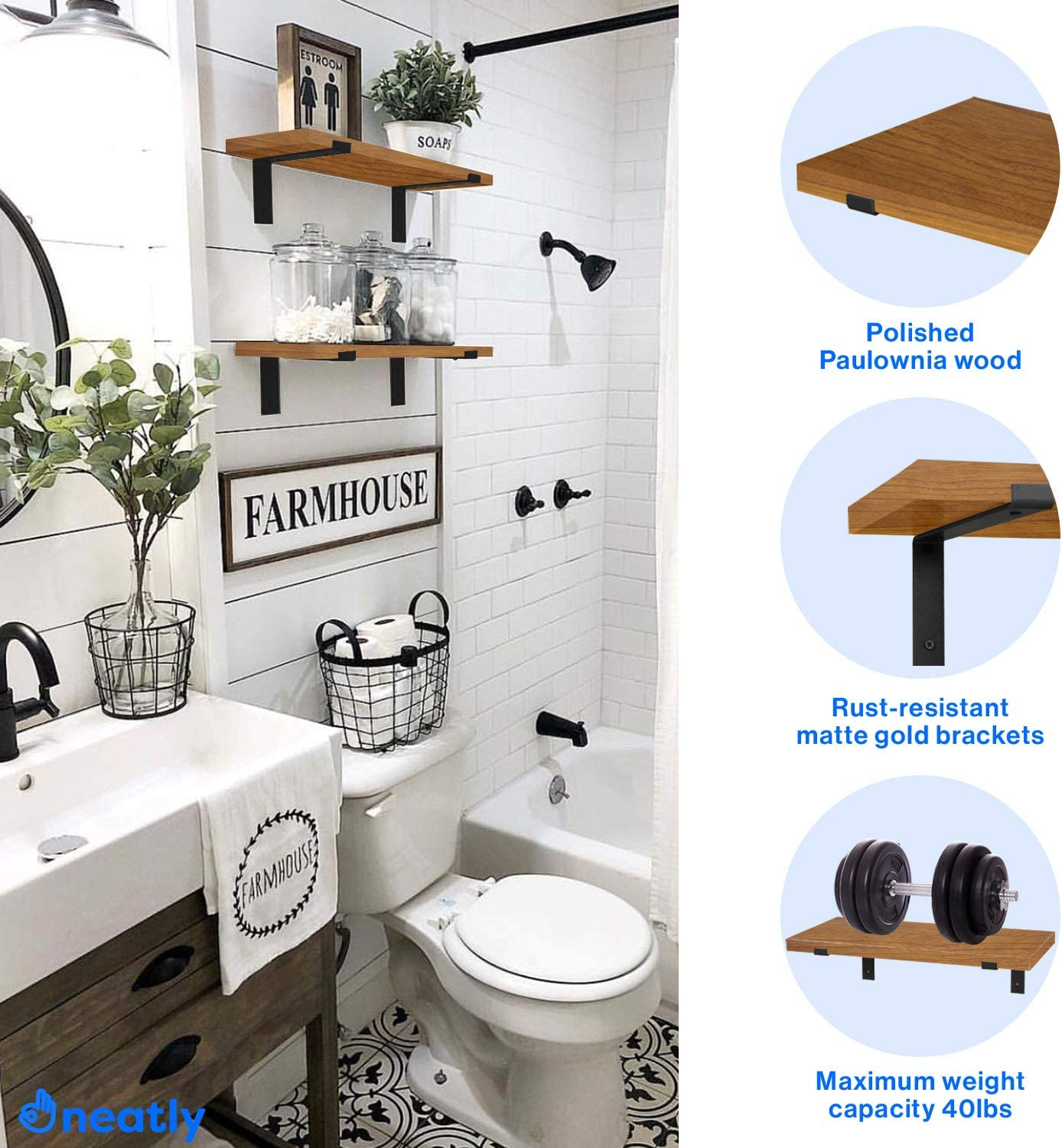   by NEATLY Bathroom or Bedroom Elegant Wall Decorations for Living Room Floating Shelves for Wall Decor Set of 2 Modern Rustic Wall Shelves Rustic Wood Farmhouse Aesthetic Room Decor DIY