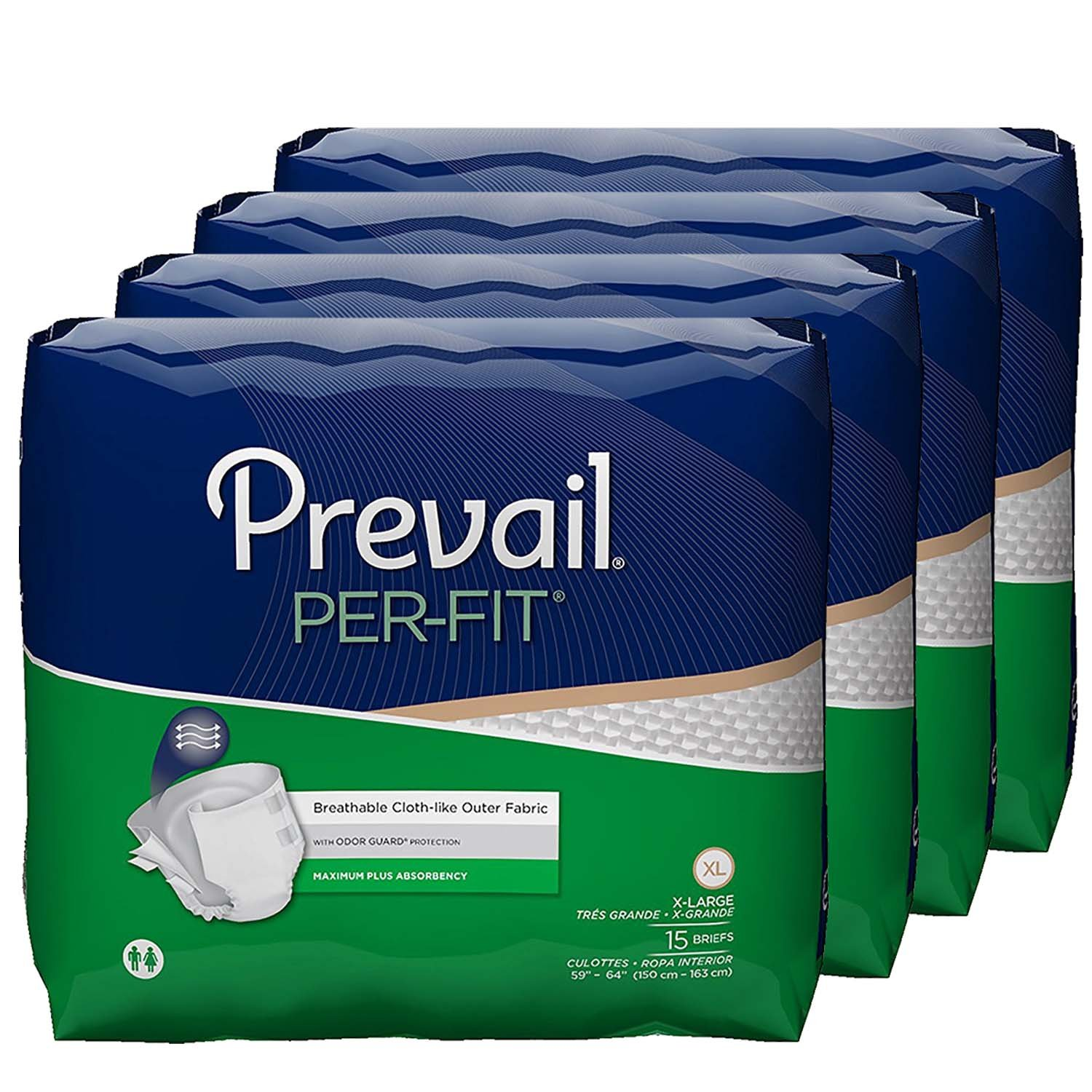 Prevail Per-Fit Maximum Absorbency Incontinence Briefs, Extra Large, 60 Total Count