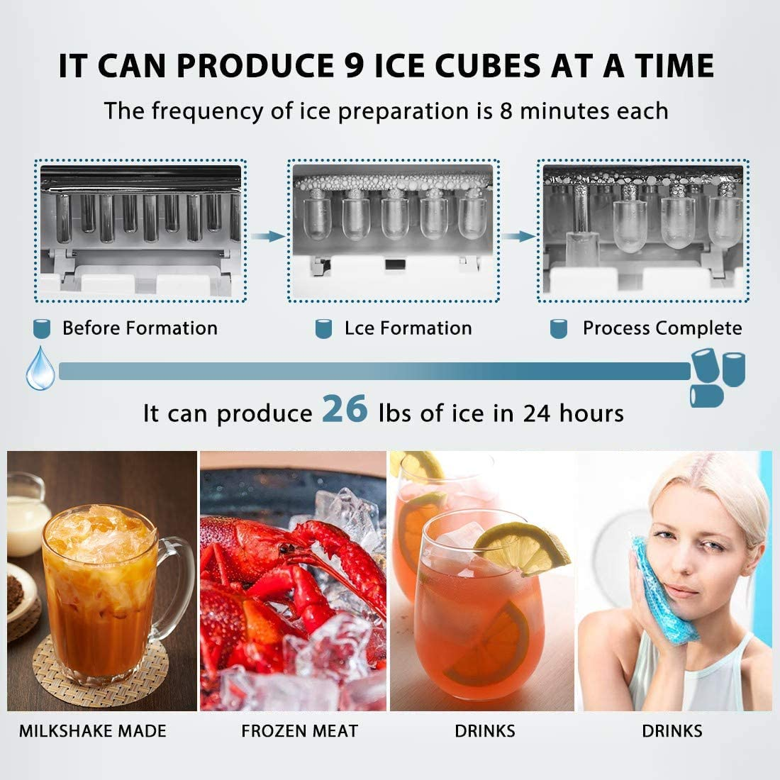Countertop Automatic Ice Cube Maker Machine Ice Scoop and Basket for Home Office Bar Party, Ready in 8mins Bratsk Ice Maker Portable 26lbs 24Hrs
