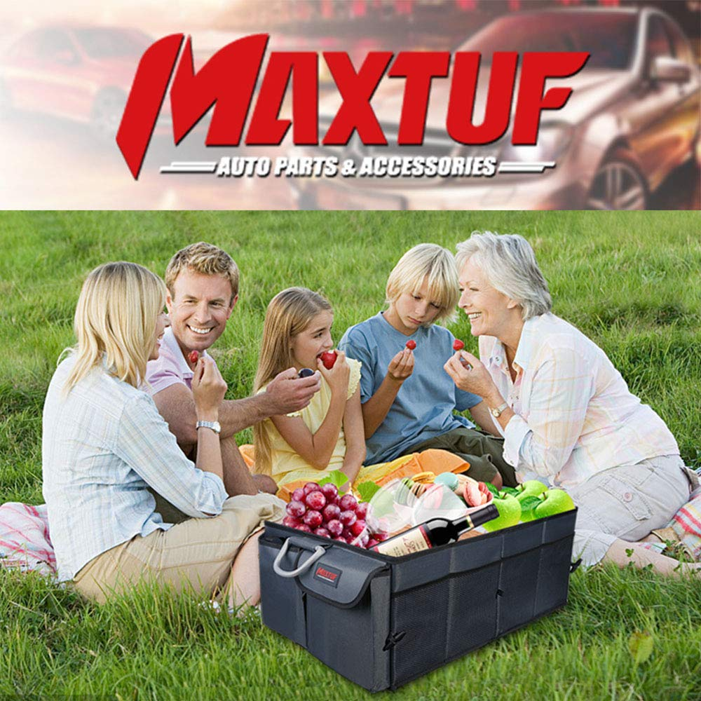 MAXTUF Backseat Toy Organizer Durable and Waterproof Kids Kick Mats Fit Car Protector Multiple Pockets Storage Bag for iPad Tablet Bottle Tissue Box Toys Coffee
