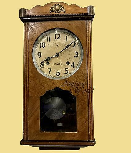 Amazon.com: Antiques World Antique Home And Wall Décor Collectible Time  Piece Seikosha Pendulum Wall Clock Trade (S) Mark Circa 1910 Japan AWUSAHB  0229: ...