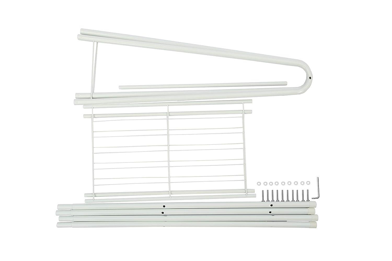 Home-Like Perchero de hierro Colgador para ropa Zapatero con 2 estantes de metal para organizar la ropa estantes de lavander/ía estante de secado resistente blanco 61 x 38,5 x 160 cm