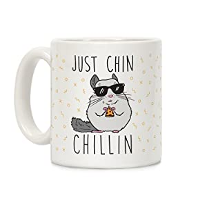 LookHUMAN Just Chin-Chillin White 11 Ounce Ceramic Coffee Mug