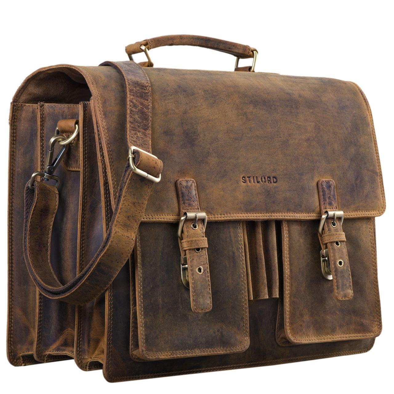 b90a5d47eca3c STILORD  Anton  Aktentasche Leder XL Vintage Lehrertasche mit Laptopfach 15
