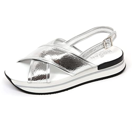 C8872 sandalo donna HOGAN H257 scarpa fasce incrociate argento shoe woman