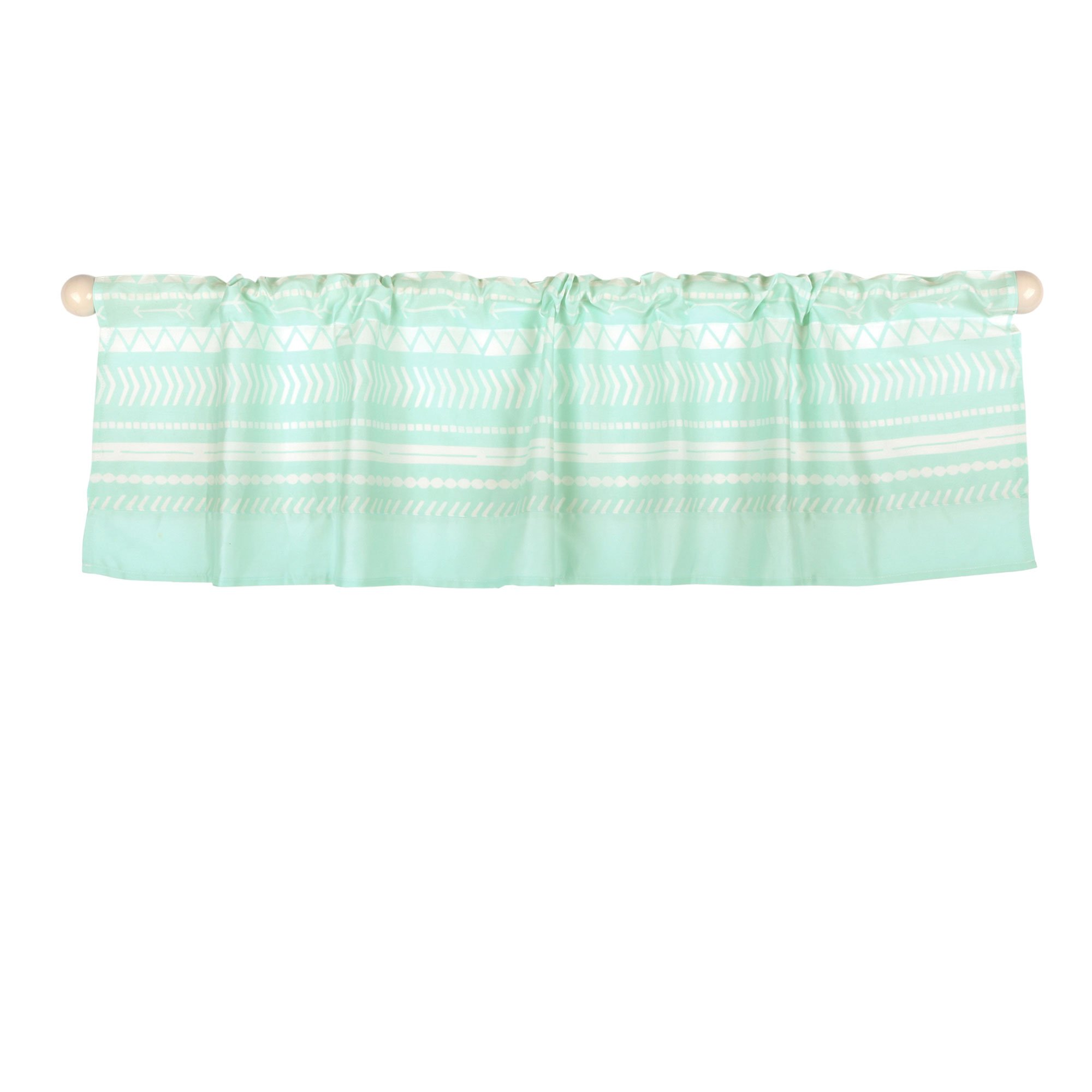 Mint Green Tribal Print Window Valance by The Peanut Shell - 100% Cotton Sateen