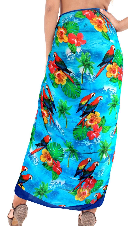 Sarong Bathing Suit Pareoラップビキニカバーアップレディースシフォン水着水着 B01M0F6QRC XL|ブルー