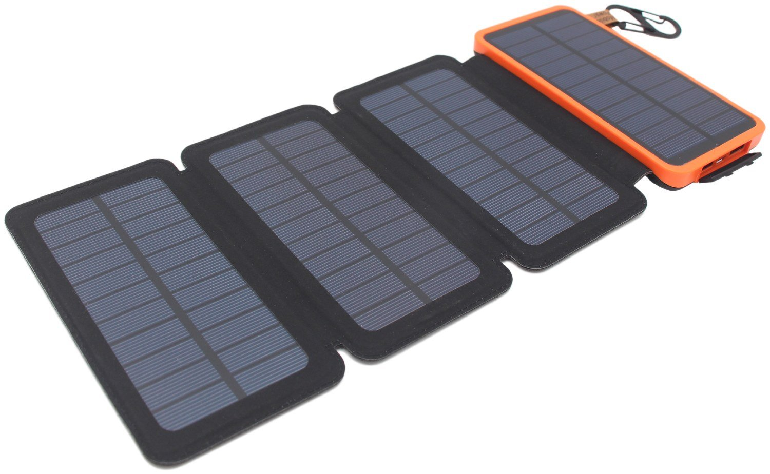 Itscool Solar Power Bank Charger 12000mAh Battery 9 LED 4 Solar Panels with 2 USB for Mobiles and All 5V Devices (4 Panels Orange)