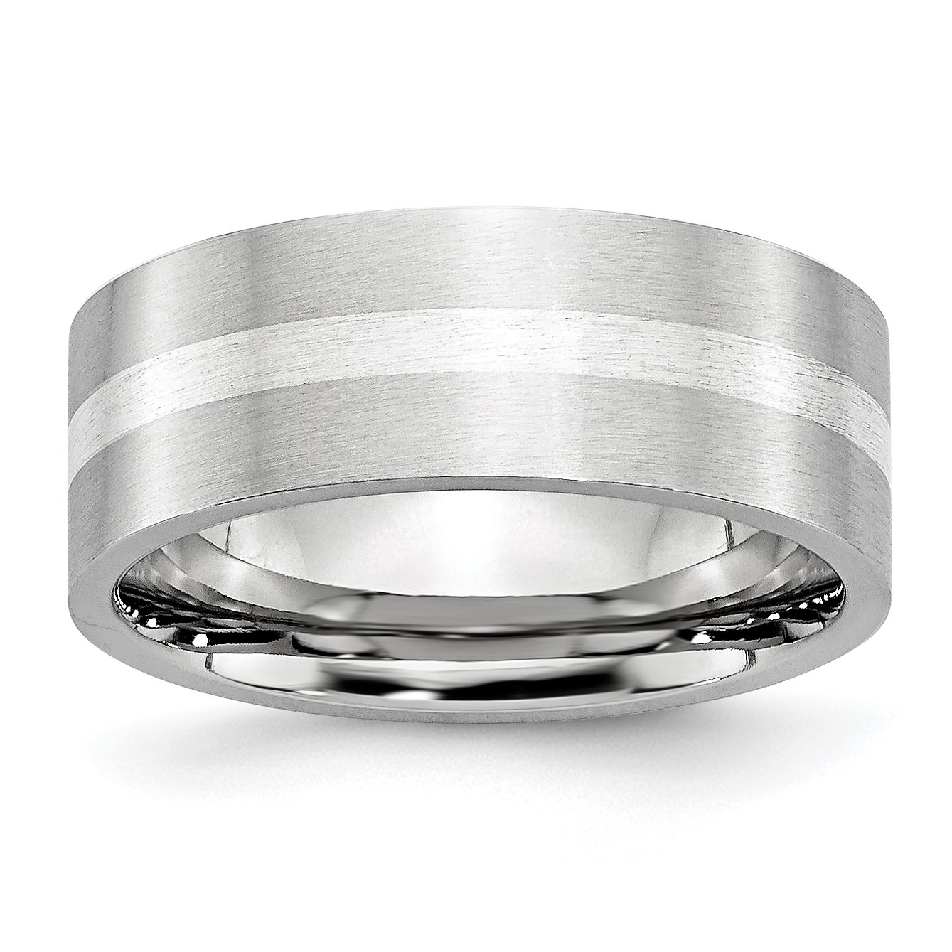 Cobalt Sterling Silver Inlay Satin 8mm Flat Band