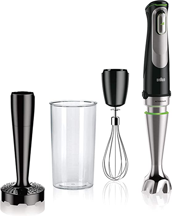 Braun MQ9007 MultiQuick 9 Immersion Hand Blender - Patented Technology - Powerful 700 Watt - Variable Speed - Includes Beaker, Whisk, Masher