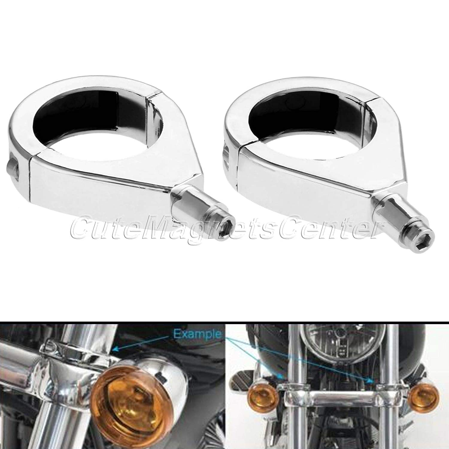 Fittings Mtsooning 2pcs 41mm Motorcycle Turn Signal Lights Indicator Fork Clamps Relocation Mount Bracket for Harley Davidson Softail