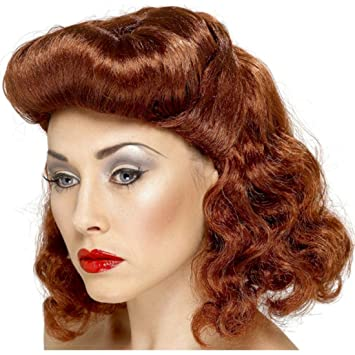 40 s 50 s Womens Auburn Ginger Pin Up Girl Wartime Wig Accessory Fancy  Dress  Amazon.co.uk  Toys   Games 765bfc4a54