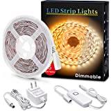 LED Strips Light, MYPLUS Dimmable Under Cabinet Lighting 1050LM, High Brightness Warm White 3000K, 16.4ft Tape Lights…