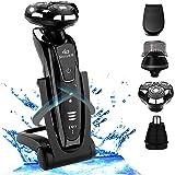 4D SHAVER Set de Afeitadora Eléctrica Hombre multifunción 4 en 1, Seco Mojado Impermeable Eléctrico Maquina Afeitar Recortador de Barba/ Nariz / Cabeza / Cepillo de Limpieza Facial - USB, Negro