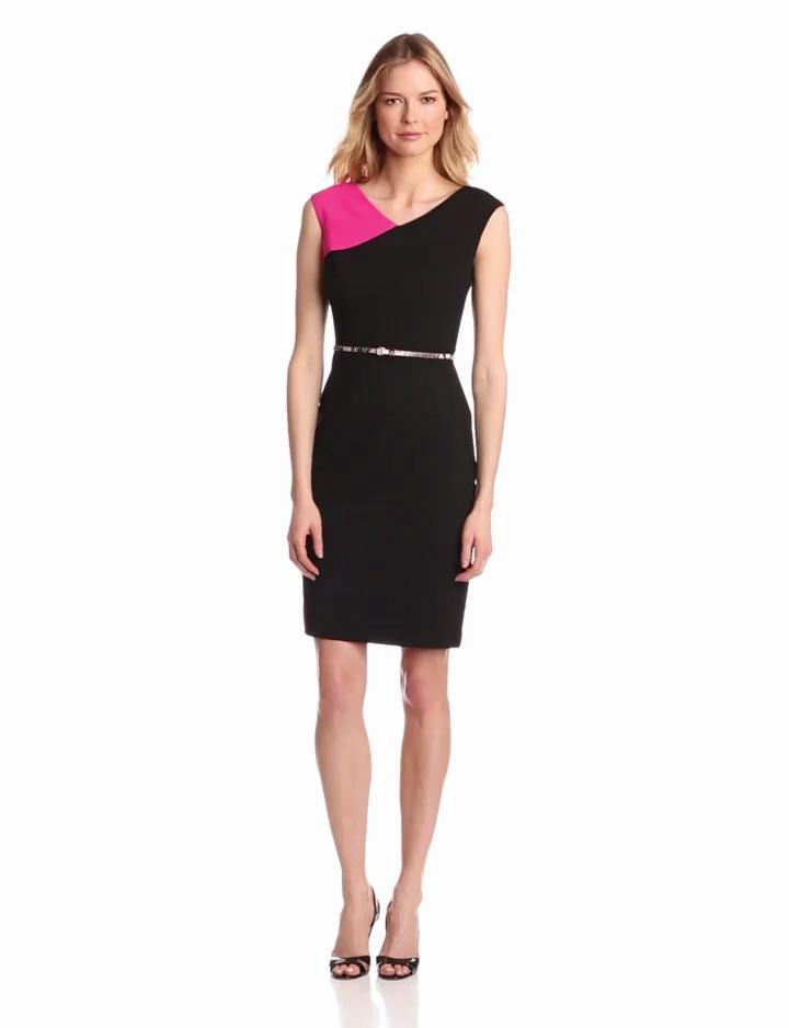 Calvin Klein Womens Assmetrical Colorblock Dress