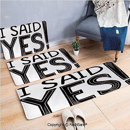 Amazon.com : FashSam 3 Piece Flannel Doormat I Said Yes ...