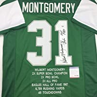 $114 » Autographed/Signed Wilbert Montgomery Philadelphia Green Stat Football Jersey PSA/DNA COA