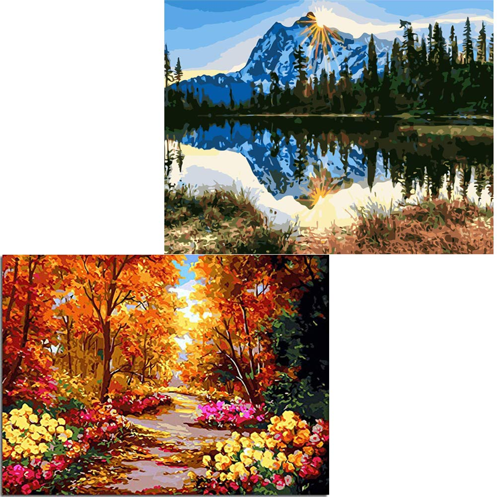 Layaw 2 Pack Paint by Numbers for Adults Kids -DIY Oil Painting